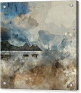 Digital Watercolor Painting Of Beautiful Summer Sunrise Landscap Acrylic Print