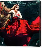 Female Dancer Performing Under Water Acrylic Print