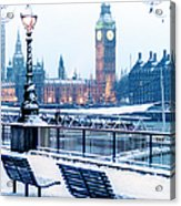 Houses Of Parliament In The Snow Acrylic Print