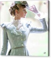 Victorian Woman In The Garden Acrylic Print