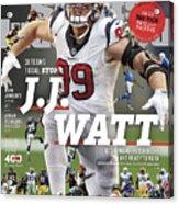 31 Teams, 1 Goal Stop J.j. Watt, 2017 Nfl Football Preview Sports Illustrated Cover Acrylic Print