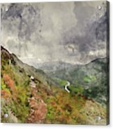 Digital Watercolor Painting Of Landscape Image Of View From Prec Acrylic Print