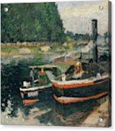 Barges At Pontoise  Acrylic Print