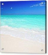 Clean White Caribbean Beach With Blue Acrylic Print