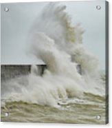 Stunning Dangerous High Waves Crashing Over Harbor Wall During W Acrylic Print