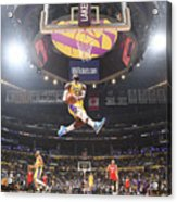 Lebron James Double-Clutch Reverse Dunk Tribute to Kobe Bryant Acrylic Print