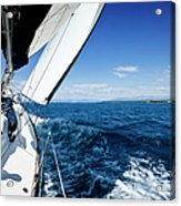 Sailing In The Wind With Sailboat Acrylic Print