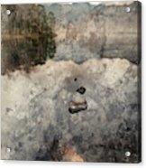 Digital Watercolor Painting Of Beautiful Autumn Fall Colorful Su Acrylic Print