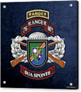 75th Ranger Regiment - Army Rangers Special Edition Over Blue Velvet Acrylic Print
