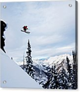 A Athletic Skier Jumping Off A Cliff In Acrylic Print