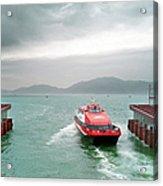 A Catamaran Ferry Docks At A Port Acrylic Print