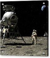 A Cosmonaut On The Moon Acrylic Print