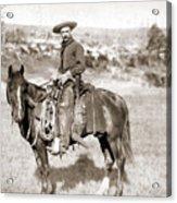 A Cowboy On Horseback, Photo, 19th Century Acrylic Print
