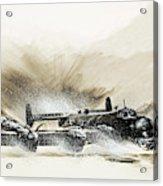 A Crippled Halifax Bomber Lands On The Ice Acrylic Print
