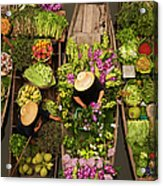 A Floating Market On A Canal In Acrylic Print