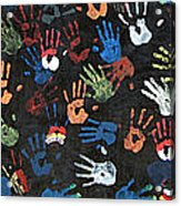 A Painting Of Colorful Handprints Acrylic Print