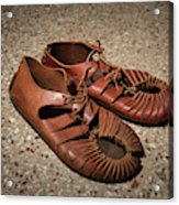 A Pair Of Roman Sandals Made Of Leather Acrylic Print