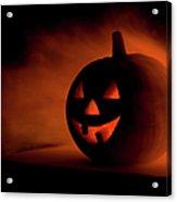 A Scary Halloween Pumpkin In Smoke Acrylic Print
