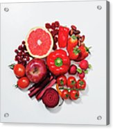 A Selection Of Red Fruits & Vegetables Acrylic Print