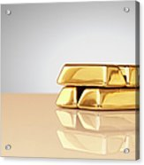 A Stack Of Four Gold Ingots Acrylic Print