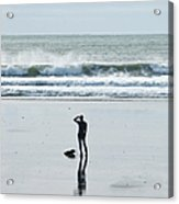 A Surfer Watches The Waves Before Acrylic Print