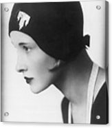 A Woman Modeling A Cloche Acrylic Print