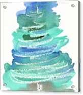 Abstract Fir Tree Christmas Watercolor Painting Acrylic Print