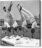 Acrobats Eat While Doing Handstands Acrylic Print