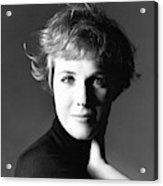 Actress Julie Andrews Wearing A Black Turtleneck Acrylic Print