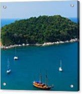 Aerial View Of Boat Near Phuket Island Acrylic Print