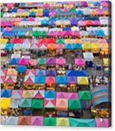 Aerial View Of Multiple Color Roof To Acrylic Print