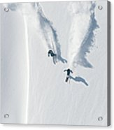 Aerial View Of Two Skiers Skiing Acrylic Print