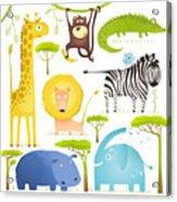 African Animals Fun Cartoon Clip Art Acrylic Print