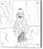 After Billy Childish Girl Pencil Drawing B2-16 Acrylic Print