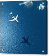 Airplane Flies Over A Sea Acrylic Print