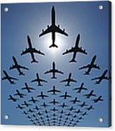 Airplane Silhouettes Fly In V Formation Acrylic Print