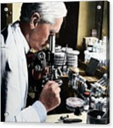 Alexander Fleming At Microscope Acrylic Print