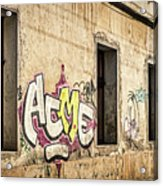Alley Graffiti And Windows - Romania Acrylic Print
