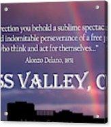 Alonzo Delano Grass Valley Quote Acrylic Print