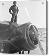 Amelia Earhart Standing Atop Plane Acrylic Print
