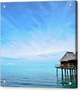 An Exclusive Resort Bungalow Over A Calm Tropical Sea. Acrylic Print