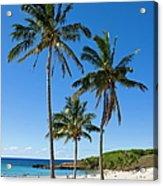 Anakena Beach, The Islands White Sand Acrylic Print