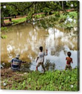 Angkor Fishing Family Acrylic Print