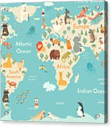 Animals World Map For Children, Kids Acrylic Print
