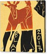 Antelope Black Ivory Woodcut9 Acrylic Print