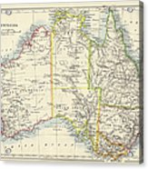 Antique Map Of Australia Acrylic Print