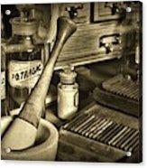 Apothecary-vintage Pill Roller Sepia Acrylic Print