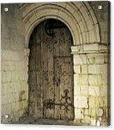 arched door at Fontevraud church Acrylic Print