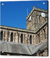 architecture of Hexham cathedral and clock tower Acrylic Print