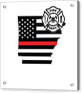Arkansas Firefighter Shield Thin Red Line Flag Acrylic Print